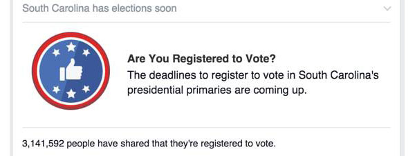 A voter registration reminder message for South Carolina users of Facebook.