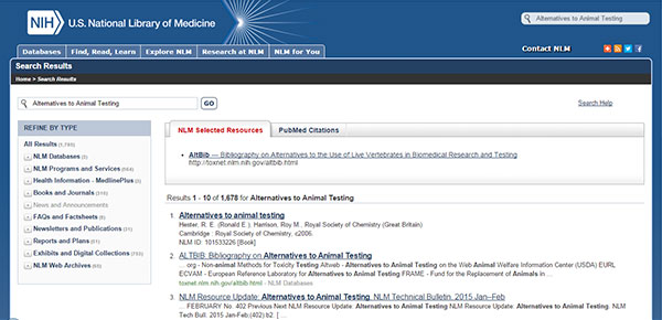 Screen capture of search results for Alternatives to Animal Testing.