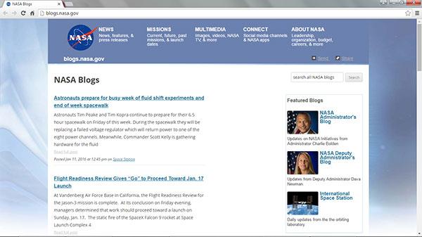 Screen capture of the NASA Blog homepage on January 11, 2016.