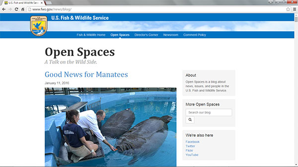 Screen capture of the U.S. Fish and Wildlife Service Blog homepage on January 11, 2016.