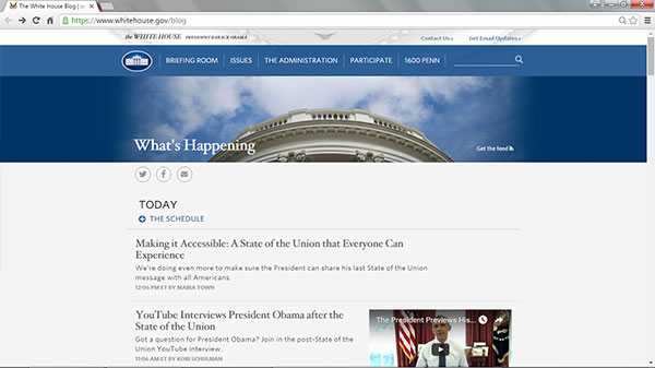 Screen capture of the White House Blog homepage on January 11, 2016.