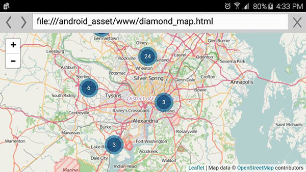 Screencapture of the Disaster Reporter feature of the FEMA app on an Android smartphone, showing numbered map markers around the Washington, D.C. area.