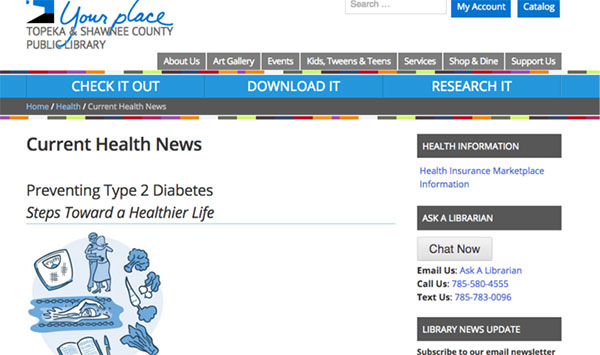 Screencapture of the same diabetes content displayed on the Topeka & Shawnee County Public Library website.