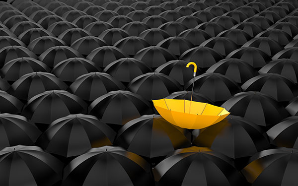 A bright yellow umbrella seen in a field of black ones stands out from the crowd.