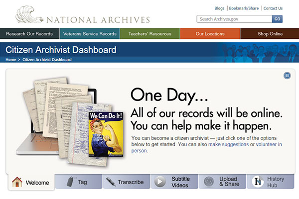 Screen capture of the Citizen Archivist Dashboard homepage.