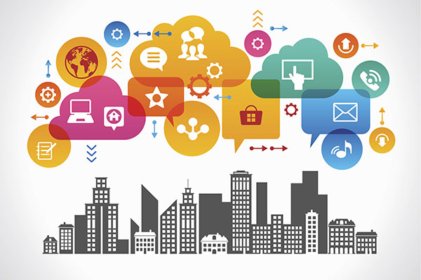 A cityscape with speech bubbles above it; each with icons for different technologies.