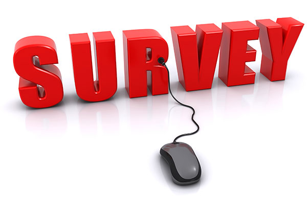 The word survey in giant red lettering, with a computer mouse plugged into the letter R.