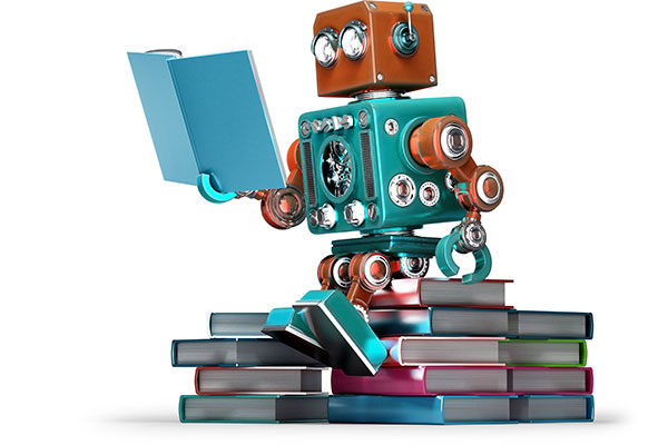 Retro robot sitting on a pile of books, reading a book.