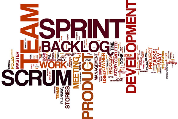 A word cloud of Agile Scrum concepts