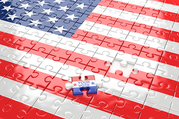 A puzzle piece from an American flag puzzle is the one piece out of place and reads, Your vote is important.