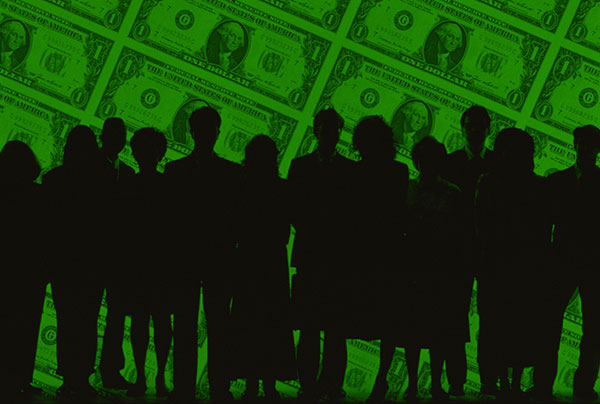 Dark silhouettes of a group of men and women against a background of a sheet of one dollar bills.