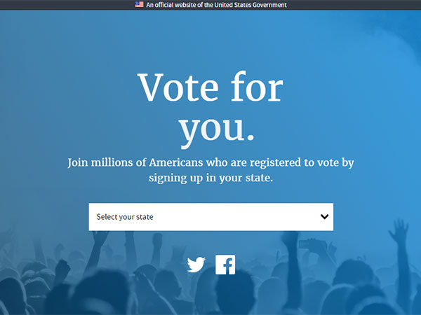 Screen capture of the Vote dot USA dot gov voter registration website.