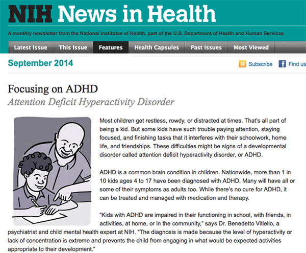 Screencapture of the Focusing on ADHD newsletter on the NIH site.