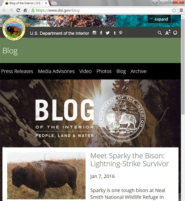 Screen capture of the Department of the Interior Blog homepage on January 11, 2016.