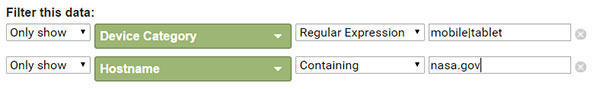 The nasa.gov URL is entered as the Hostname dimension.