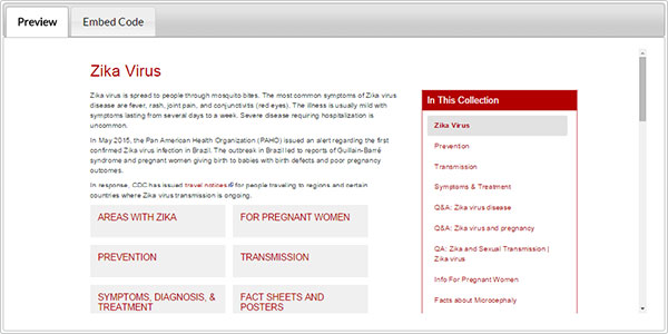 The Zika Virus Microsite preview in red.