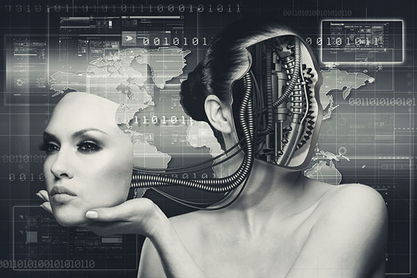A beautiful female cyborg with the face, still connected to the head by cables, held in one of her hands.