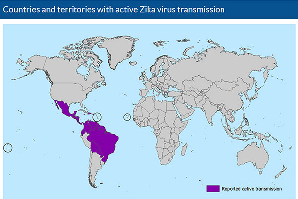 A Centers for Disease Control and Prevention map, dated Feb 3rd, 2016, showing countries and territories with active Zika virus transmissions.
