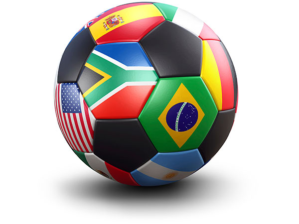 A World Cup soccer ball covered in various international flags.