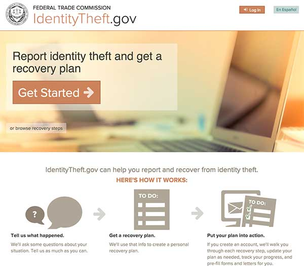 Screenshot of Identity Theft dot gov website homepage.