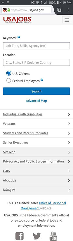 Screen capture of the mobile version of the U.S.A. Jobs website homepage on an Android smartphone.