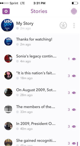 USA.gov Snapchat app Stories screen