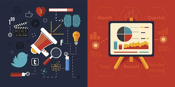 Icons for social media marketing and analytics