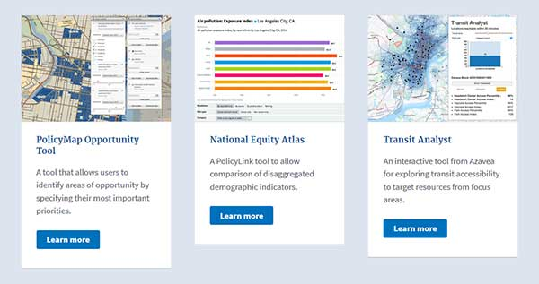 Screen capture of some of the tools that have been developed using Open Opportunity Data.