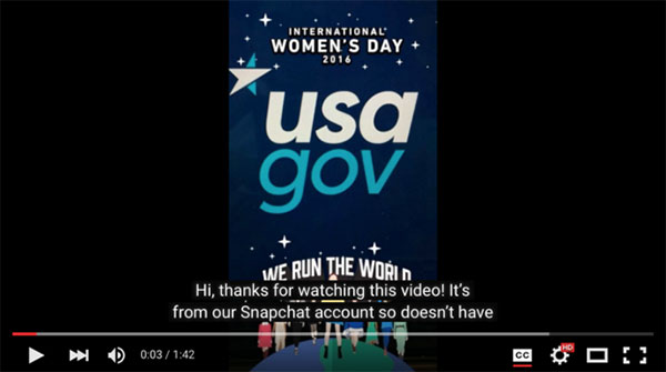 USA.gov Snapchat screen capture of YouTube player as an alternate option for viewing
