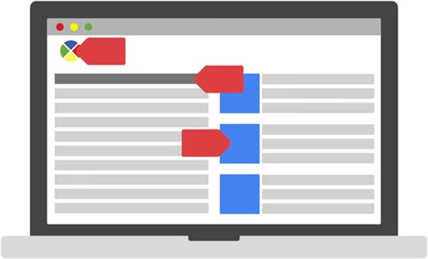 An illustration of the Google Tag Manager tool on a laptop.