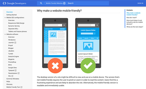 Screen capture of the why make a website mobile-friendly section on the Google Developers website.