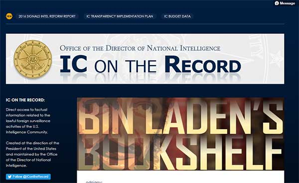 Screen capture of Office of the Director of National Intelligence tumblr