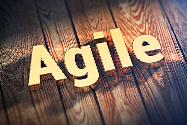 "The word ""Agile"" in metallic gold letters on wood planks."