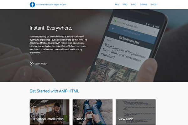 Screen capture of Accelerated Mobile Pages (AMP) Project homepage