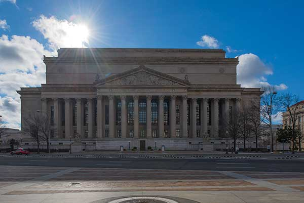 The front of the National Archives and Records Administration federal building in Washington, DC.