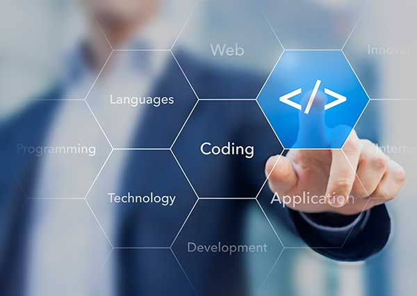 Coding symbol on virtual screen about developing apps or websites.