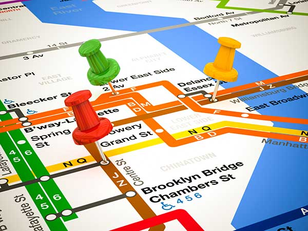 3-D pins on an NYC subway map