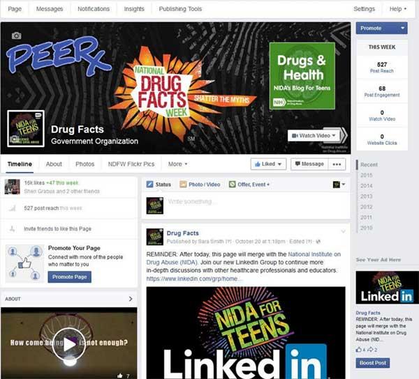 N.I.D.A.'s original Drug Facts Facebook page.