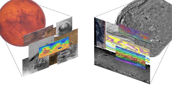 A mosaic of images from Mars Trek and Vesta Trek.