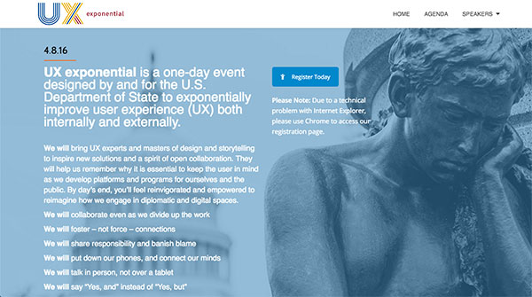 Screen capture of the State Department's UX Exponential homepage