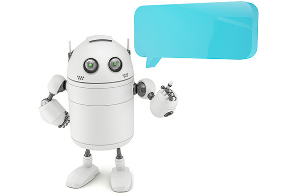 Robot with chat bubble