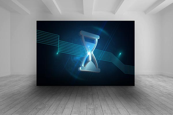Room with futuristic picture of hourglass on a large screen.