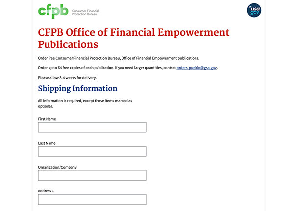 Screen capture of a CFPB website form.