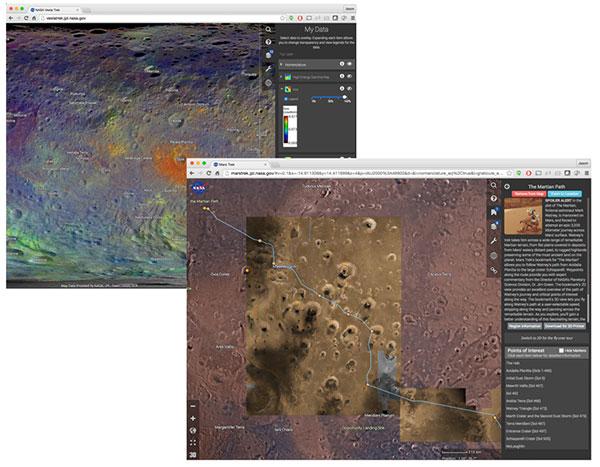 A composite of 2 screen captures of Trek apps.