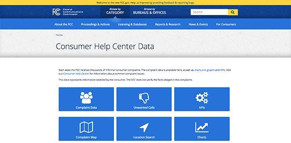 Screencapture of FCC Consumer Help Center Data homepage