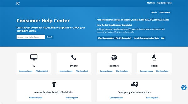 Screencapture of FCC Consumer Help Center homepage