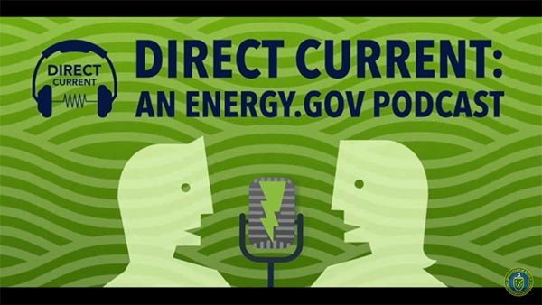 The Department of Energy's splash screen for their Direct Current podcast series.