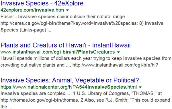 Screen capture of search results for: cgi bin invasive species.