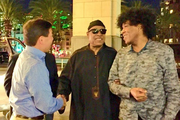 Meeting Stevie Wonder at CSUN in San Diego on March 23, 2016.