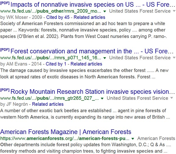 Screen capture of search results for: pubs other invasive species American forests